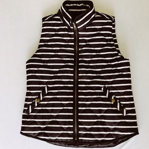 NWOT Black and White Stripe Gap Quilted Vest